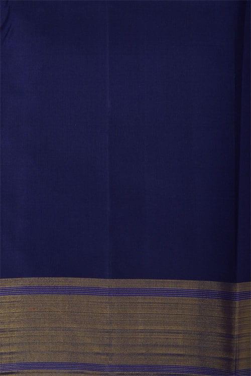 Pink and Navy blue half & half kanchipuram silk saree-12293