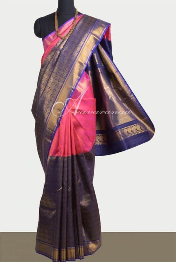 Pink and Navy blue half & half kanchipuram silk saree-0