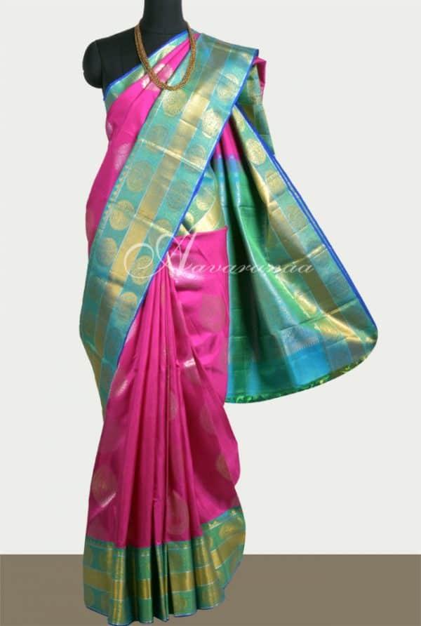 Pink and teal kanchi silk-0