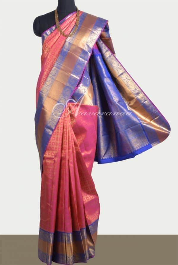 Pink kancheepuram Silk with royal blue border-0