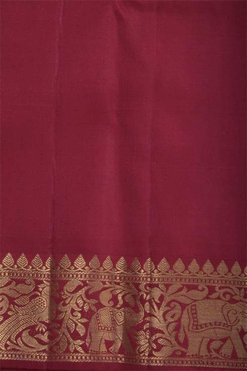 Parrot green and maroon kanchi silk sari-12299
