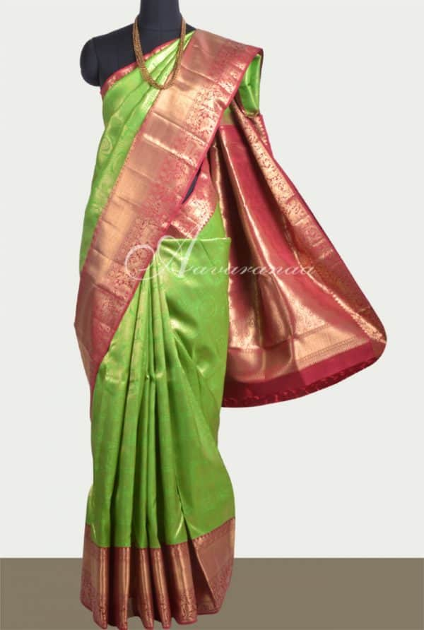 Parrot green and maroon kanchi silk sari-0