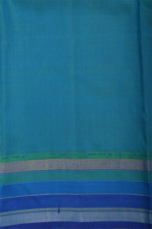 Orange kanchi silk saree with zari buttis-12303