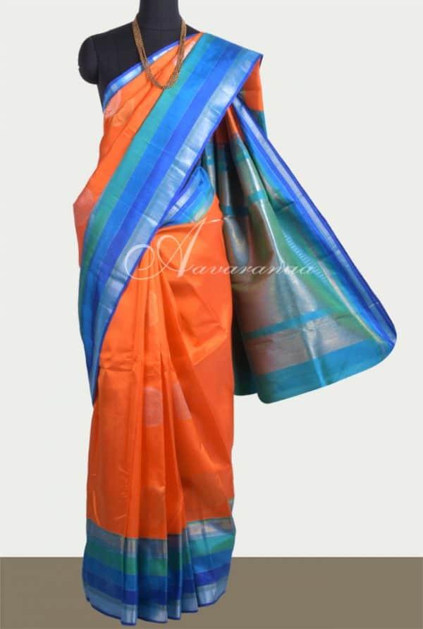 Orange kanchi silk saree with zari buttis-0