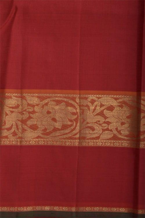 Navy blue kanchipuram silk saree with orange border-12305