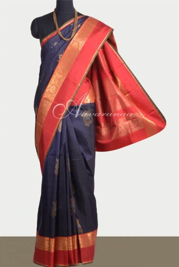 Navy blue kanchipuram silk saree with orange border-0