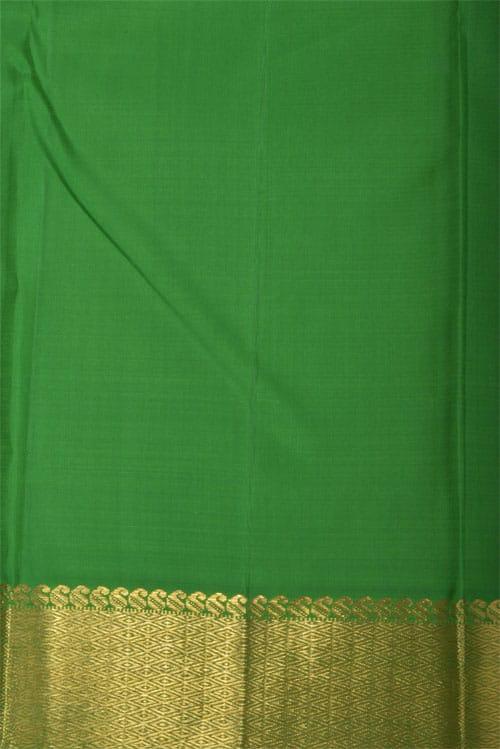 Beige kanchi silk saree with green pallu-12317