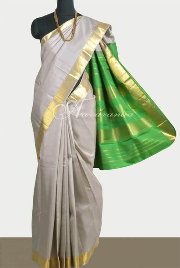 Beige kanchi silk saree with green pallu-0