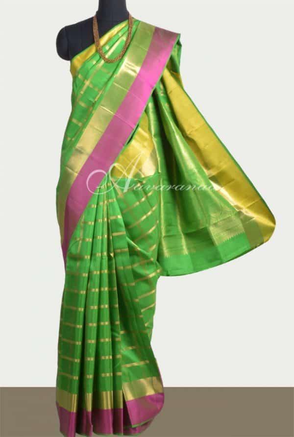 Green kanchi silk saree with ganga jamuna border-0