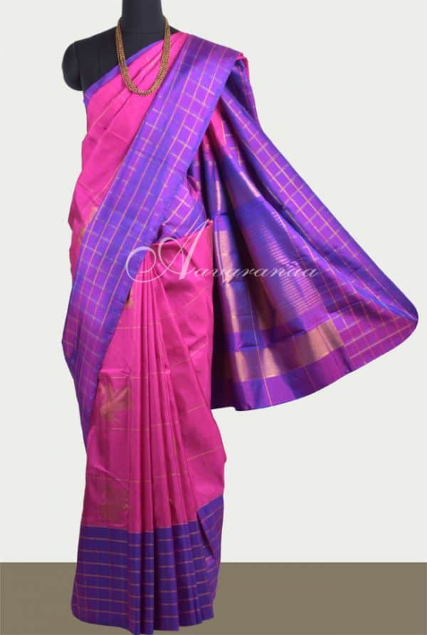 Pink kancheepuram Silk with violet border-0