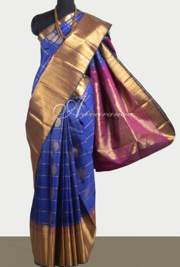 Blue kancheepuram Bridal Silk -0