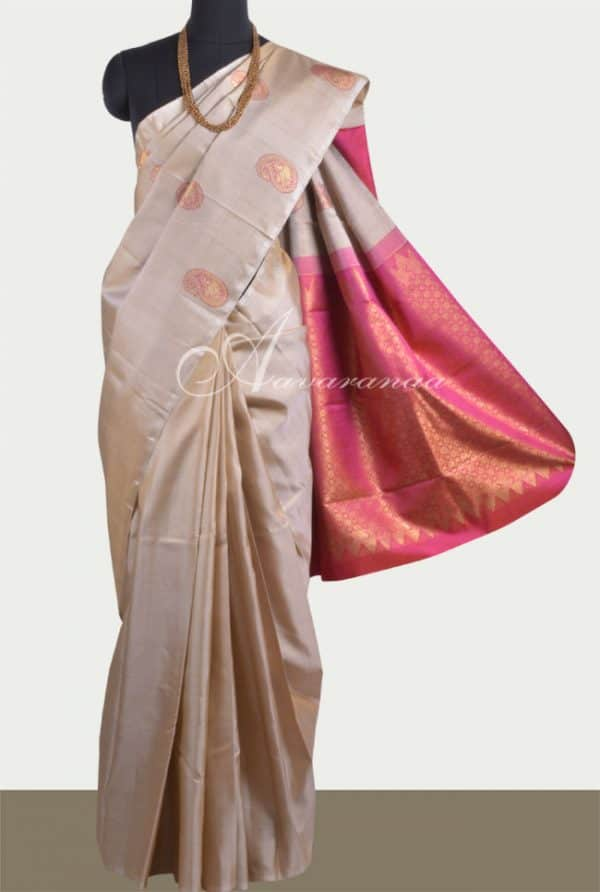 Beige meenakari kanchipuram silk saree-0