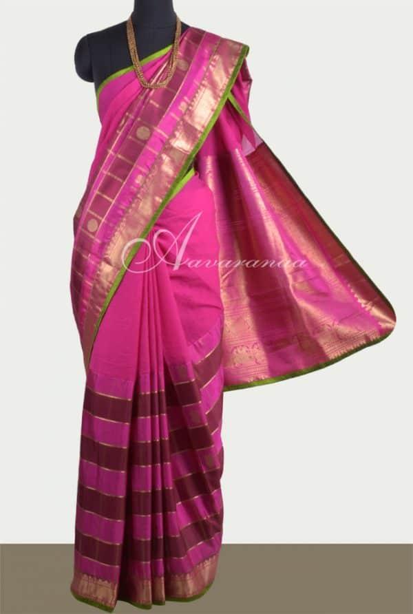 Pink Chiffon & Kanchipuram 1/2& 1/2 Saree-0