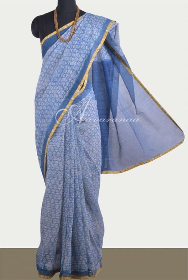 Blue block printed kota saree -0