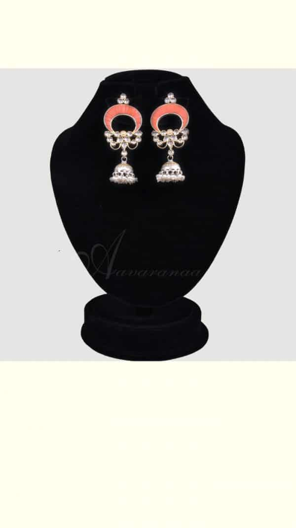 Oxidised silver jhumka with kundan-0