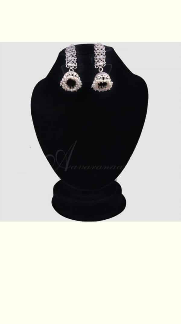 Oxidised silver earrings with jhumka-0