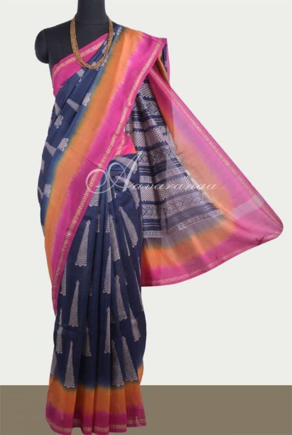 Indigo chandheri saree with border-0