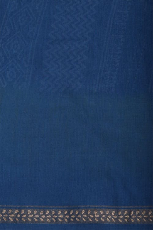 Indigo blue chandheri saree with double shaded border-12364