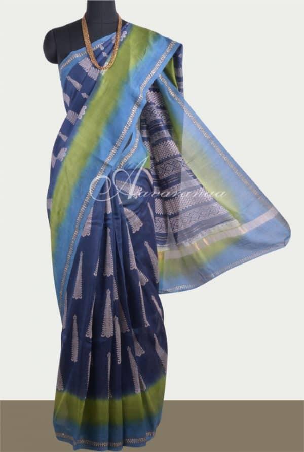 Indigo blue chandheri saree with double shaded border-0