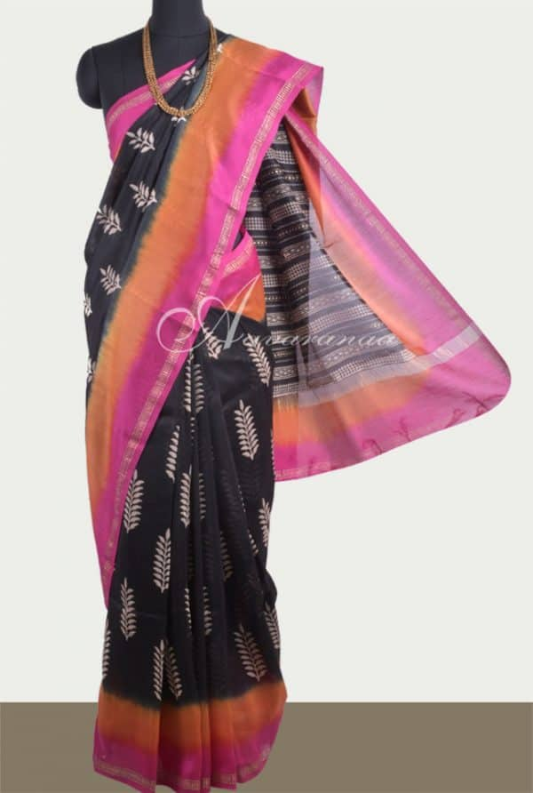 Black chandheri saree with double shaded border-0