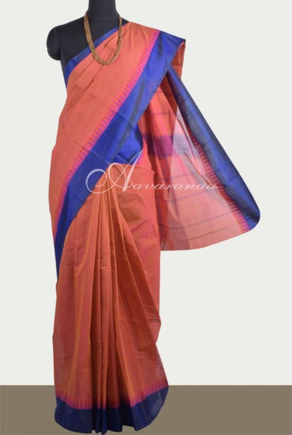 Peach kanchi cotton saree with silk royal blue border-0