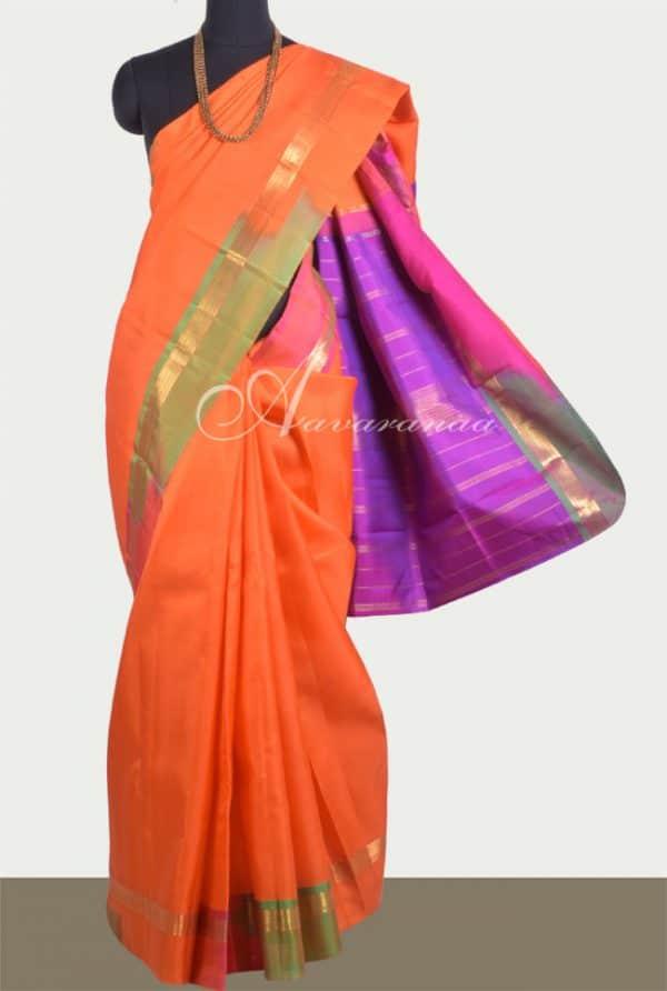 Orange kanchi silk saree-0