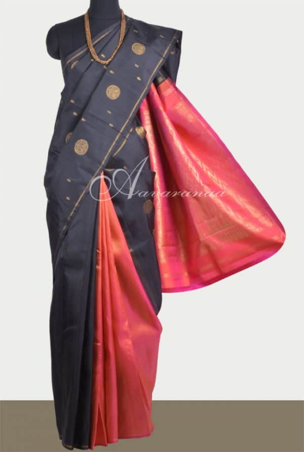 Black and peach partly pallu kanchivaram silk saree-0