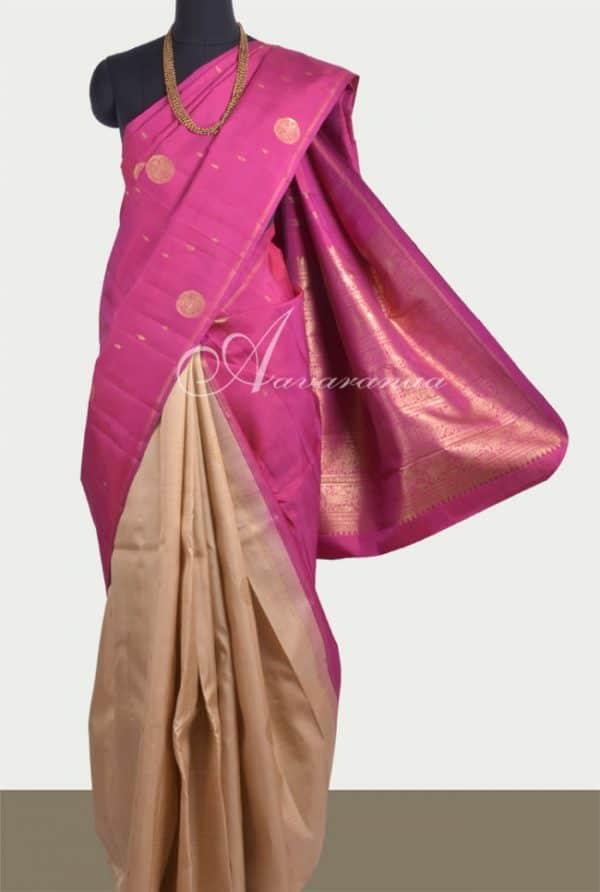 Pink & beige half & half silk saree-0