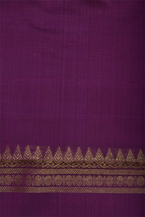 Navy blue with majenta long border kanchi saree-12430