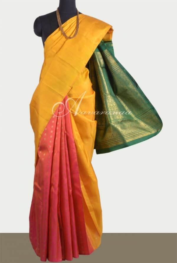 Mustard partly pallu kanchi silk saree-0