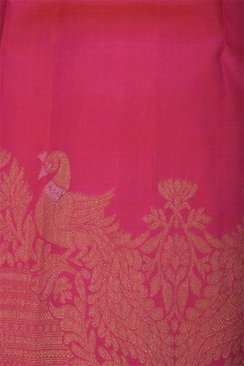 Pink kanchipuram silk saree with meenakari-12436