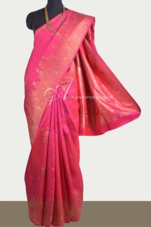 Pink kanchipuram silk saree with meenakari-0