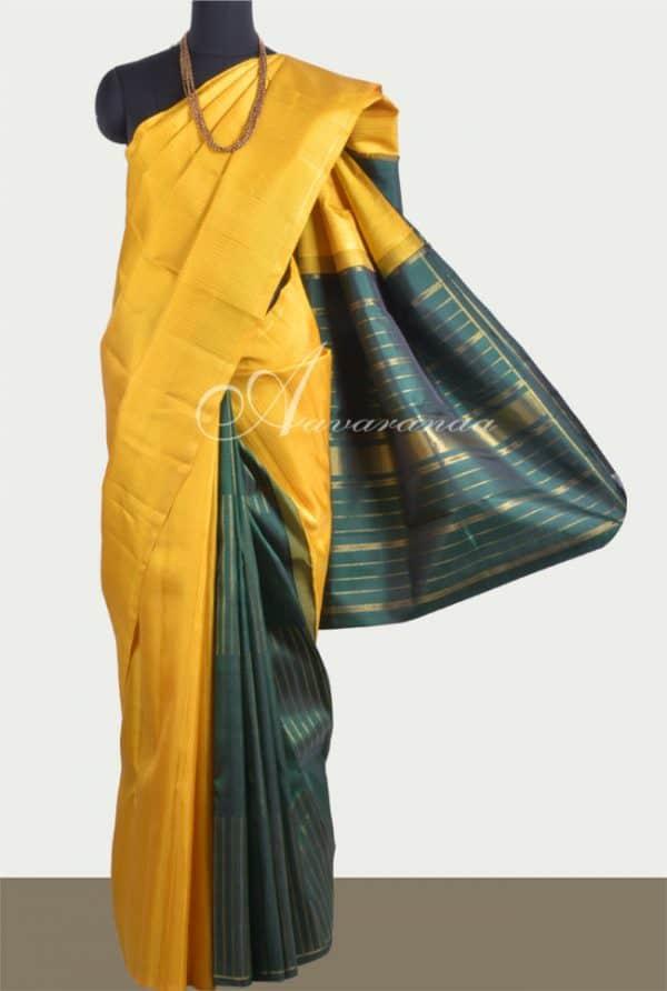 Yellow partly pallu saree in kanchi silk-0