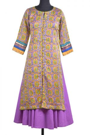 Multicolor chandheri layered kurta-0