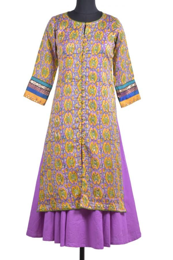 Multicolor chandheri layered kurta-0