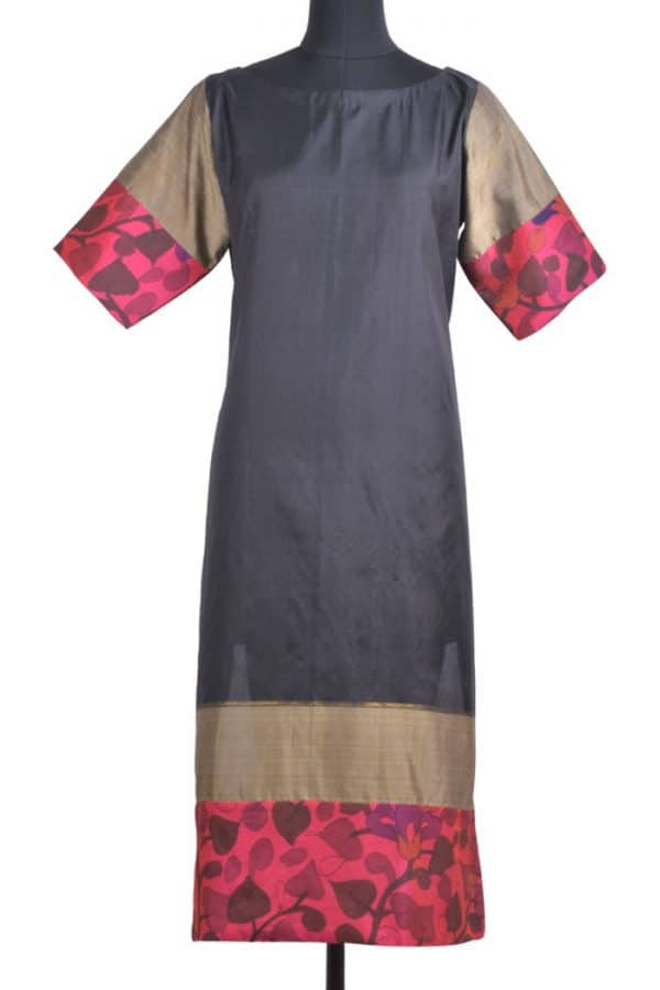 Shaded beige tussar suit-0