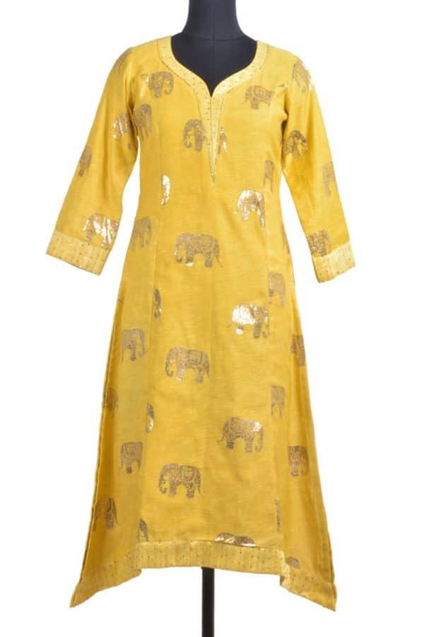 Yellow matka silk kurta-0