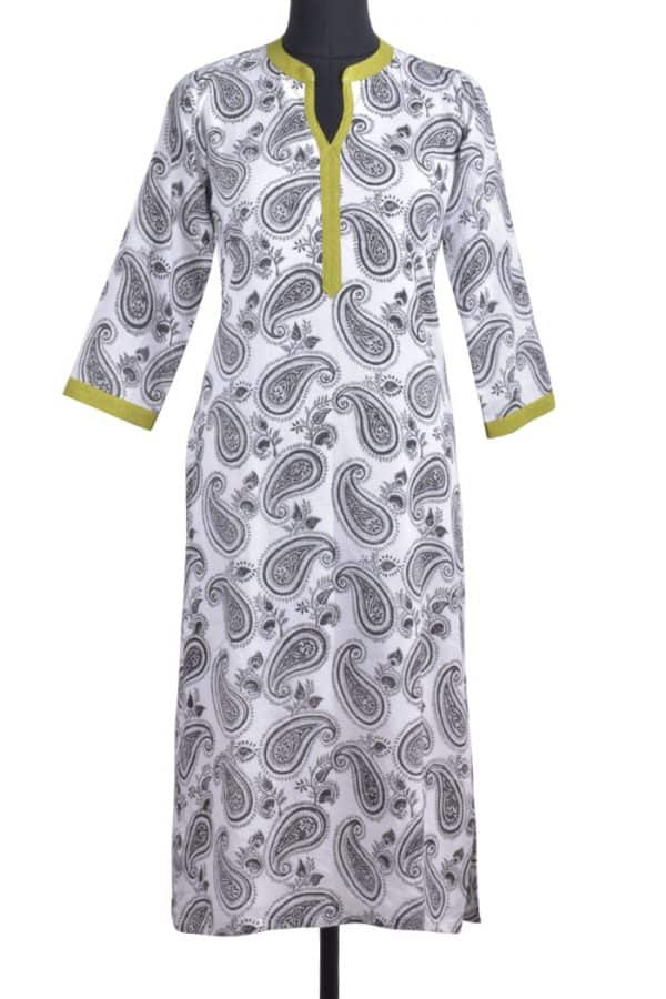 White printed cotton kurta-0