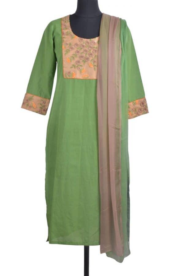 Green cotton and shaded chiffon dupatta-0