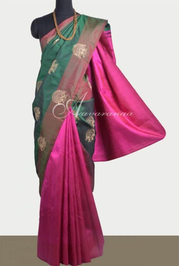 Green & pink kanchipuram silk-0
