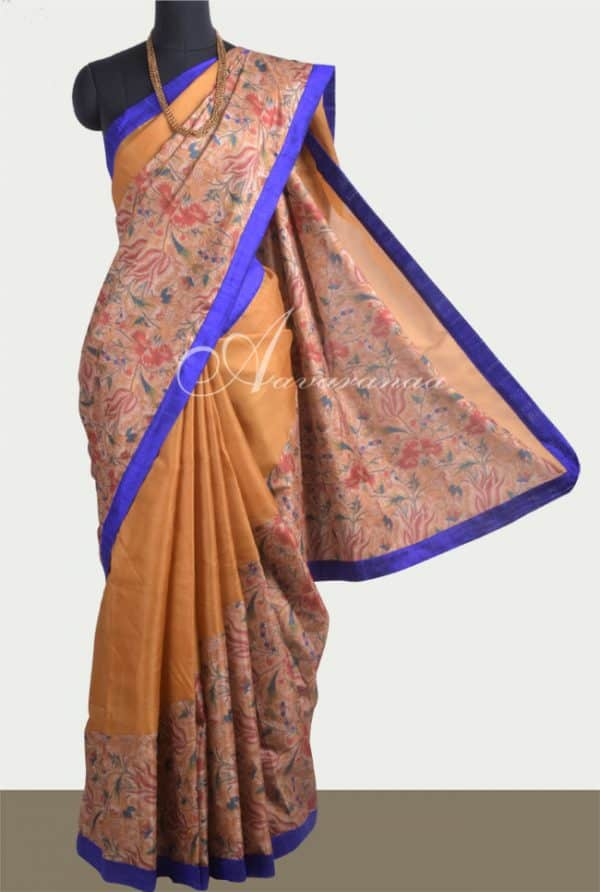 Oil mustard rising tussar saree-0