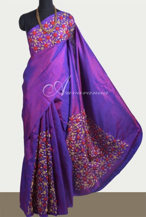 Purple embroidered silk saree-0