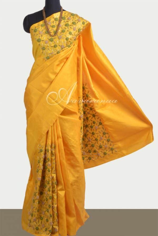 Yellow embroidered silk saree-0