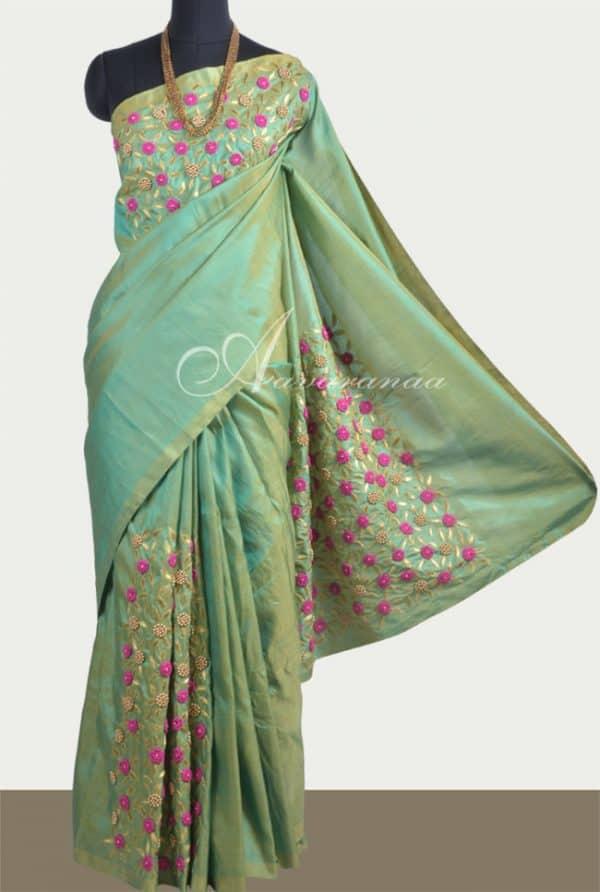 Pista green embroidered silk saree-0