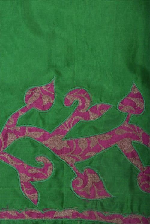Appliqued silk saree in green-12519