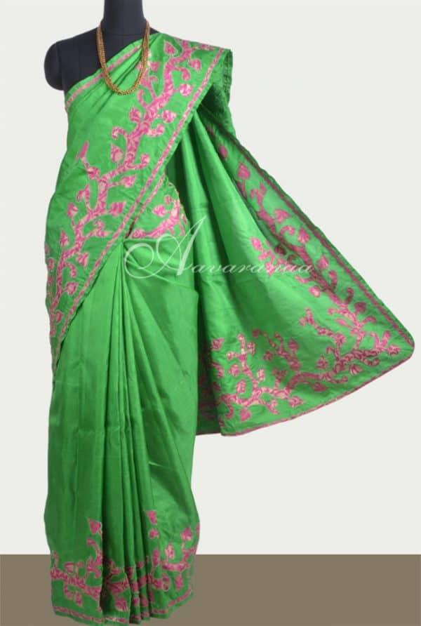 Appliqued silk saree in green-0