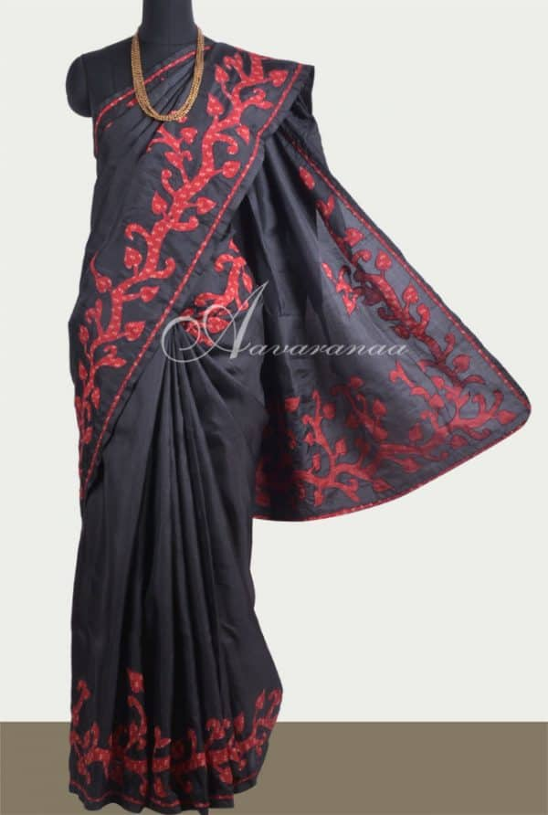 Appliqued silk saree in black-0