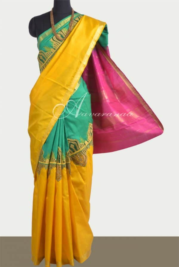 Green & Yellow half-half kanchipuram silk saree with cutwork-0