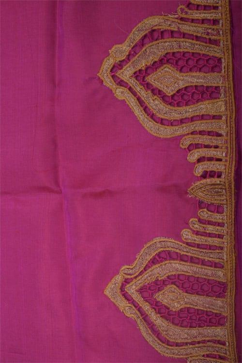 Majenta & shaded green half-half kanchipuram silk saree with cutwork-12525