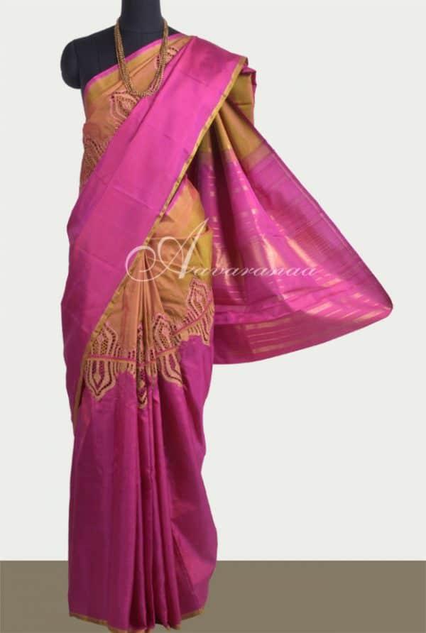 Majenta & shaded green half-half kanchipuram silk saree with cutwork-0